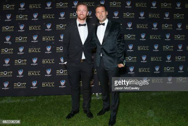 David Carney and Milos Dimitrijevic of Sydney arrive at the 2017 Sky Blue Ball at Sydney Cricket Ground on May 12 2017 in Sydney Australia