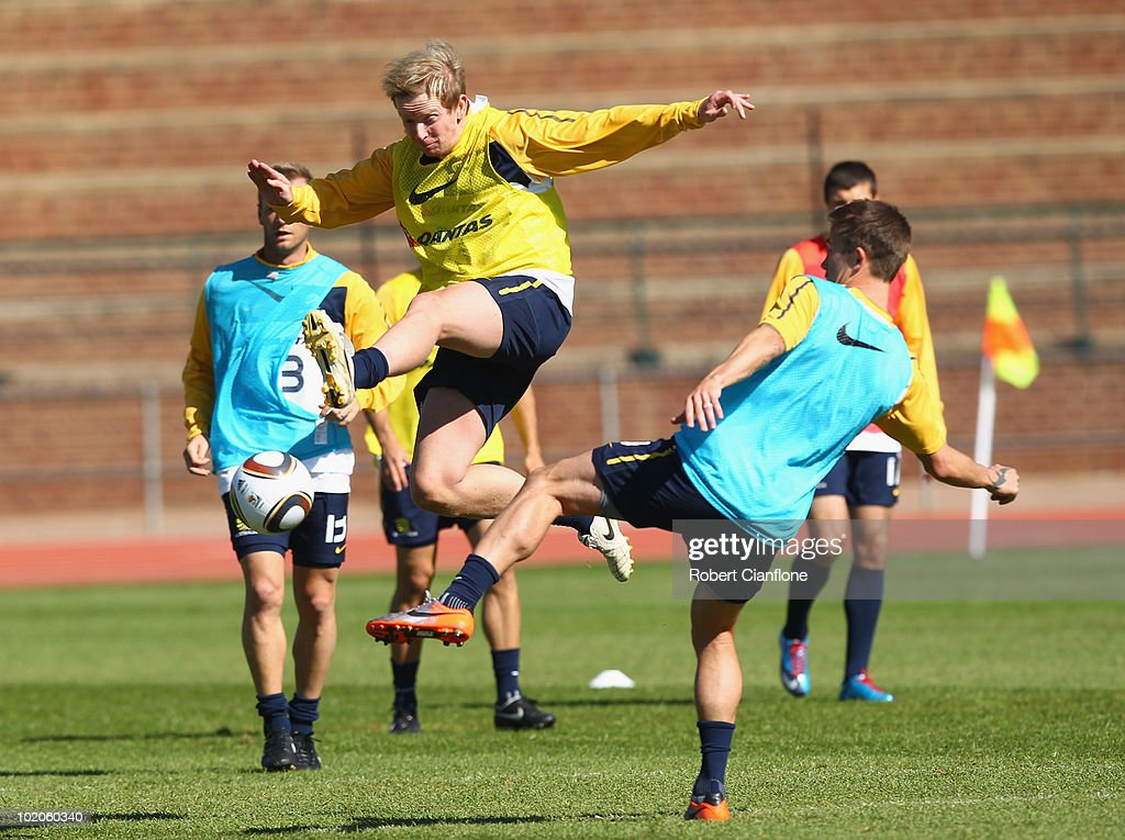 David Carney of Australia challenges Harry Kewell during an Australian Socceroos training session at Ruimsig Stadium on June 14, 2010 in Roodepoort, South Africa.