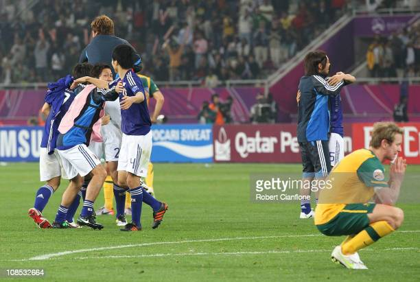 David Carney of Australia looks dejected after Japan defeated Australia in extra time 10 at the AFC Asian Cup Final match between the Australian...
