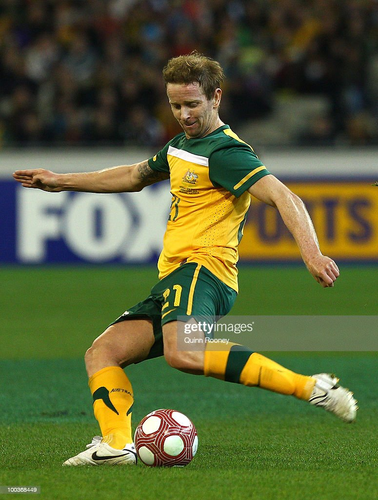 David Carney of Australia passes the ball during the 2010 FIFA World Cup Pre-Tournament match between the Australian Socceroos and the New Zealand All Whites at Melbourne Cricket Ground on May 24, 2010 in Melbourne, Australia.