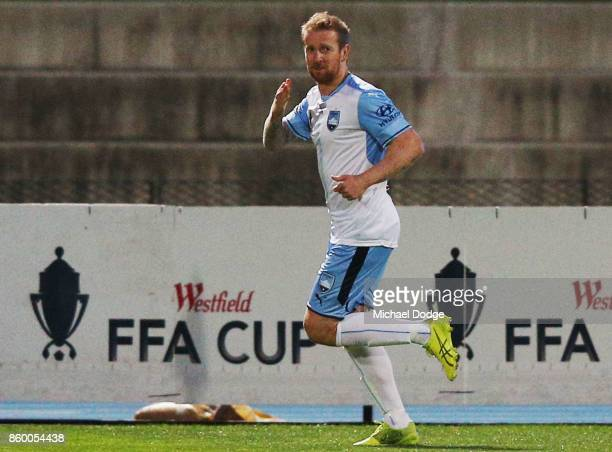 David Carney of Sydney FC celebrates a goal during the FFA Cup Semi Final match between South Melbourne FC and Sydney FC at Lakeside Stadium on...
