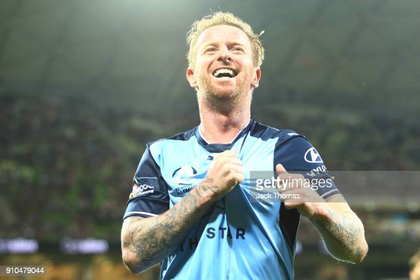 David Carney of Sydney FC celebrates a goal during the round 18 ALeague match between Melbourne Victory and Sydney FC at AAMI Park on January 26 2018...