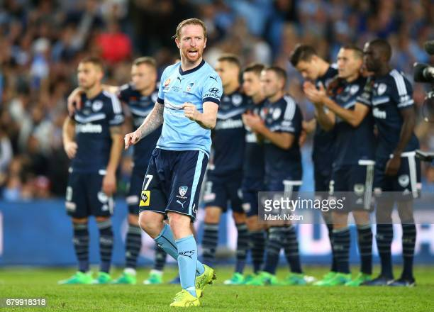 David Carney of Sydney FC celebrates during the penalty shoot out during the 2017 ALeague Grand Final match between Sydney FC and the Melbourne...