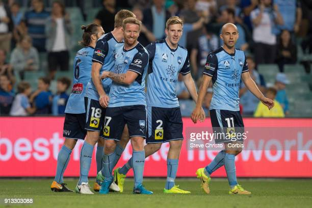 David Carney of Sydney FC celebrates his goal during the round 19 ALeague match between Sydney FC and the Wellington Phoenix at Allianz Stadium on...