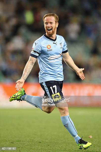 David Carney of Sydney FC celebrates scoring huis second goal during the round five ALeague match between Sydney FC and the Melbourne Victory at...