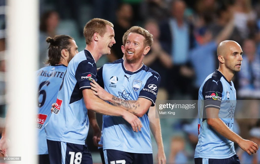 David Carney of Sydney FC celebrates with team mates after scoring a goal during the round 19 A-League match between Sydney FC and the Wellington Phoenix at Allianz Stadium on February 2, 2018 in Sydney, Australia.