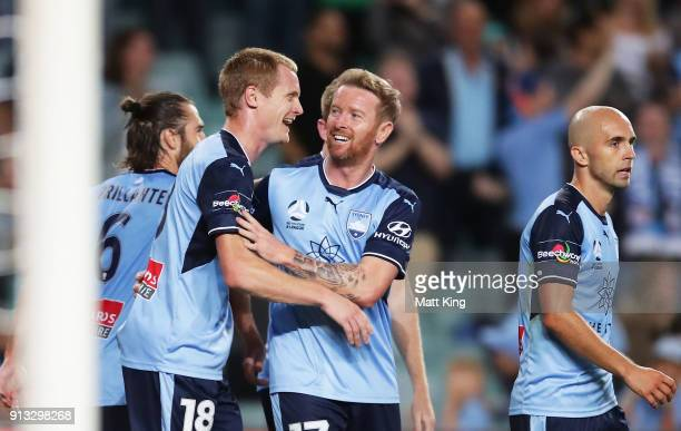 David Carney of Sydney FC celebrates with team mates after scoring a goal during the round 19 ALeague match between Sydney FC and the Wellington...