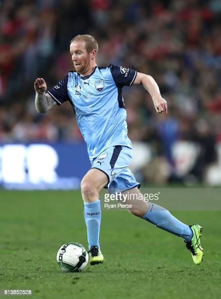 David Carney of Sydney FC looks upfield during the match between Sydney FC and Arsenal FC at ANZ Stadium on July 13 2017 in Sydney Australia