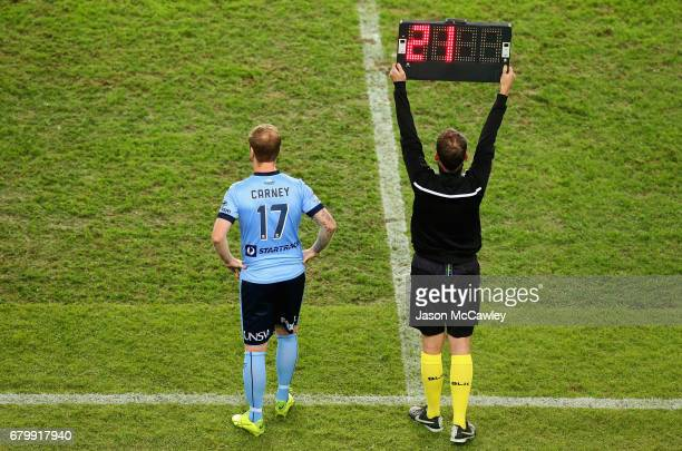 David Carney of Sydney substitutes Filip Holosko of Sydney during the 2017 ALeague Grand Final match between Sydney FC and the Melbourne Victory at...