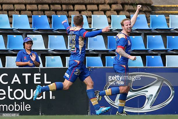 David Carney of the Jets celebrates a goal during the round 15 ALeague match between the Newcastle Jets and the Wellington Phoenix at Hunter Stadium...