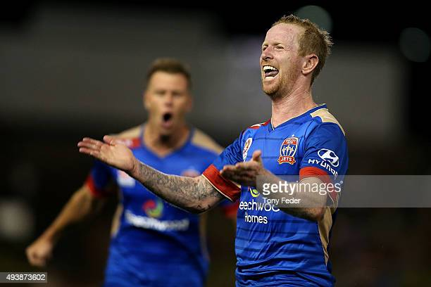 David Carney of the Jets celebrates a goal during the round three ALeague match between the Newcastle Jets and the Melbourne Victory at Hunter...
