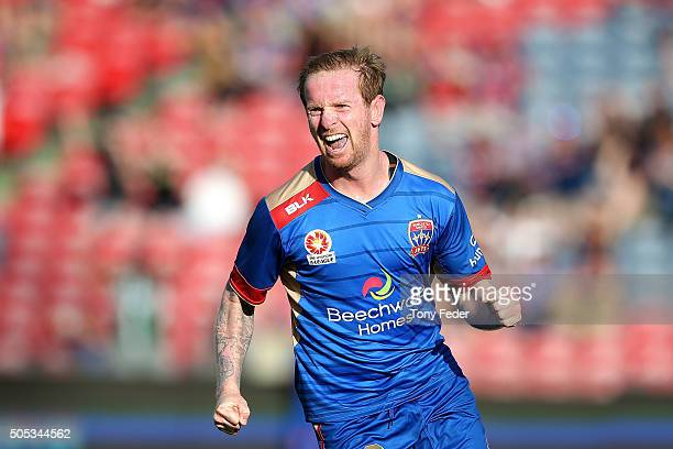 David Carney of the Jets celebrates his goal during the round 15 ALeague match between the Newcastle Jets and the Wellington Phoenix at Hunter...