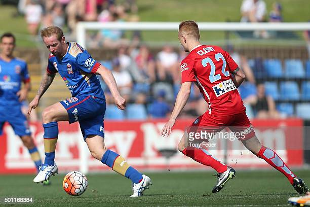 David Carney of the Jets controls the ball during the ALeague match between the Newcastle Jets and Melbourne City FC at Hunter Stadium on December 13...