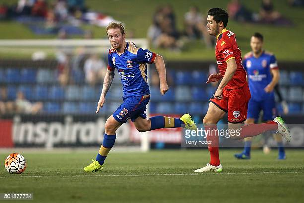 David Carney of the Jets controls the ball during the round 11 ALeague match between the Newcastle Jets and Adelaide United at Hunter Stadium on...