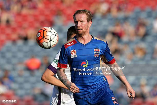 David Carney of the Jets in action during the round 16 ALeague match between the Newcastle Jets and the Perth Glory at Hunter Stadium on January 24...