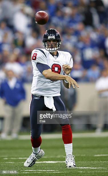 David Carr of the Houston Texans passes during the NFL game with the Indianapolis Colts on November 13, 2005 at the RCA Dome in Indianapolis,...
