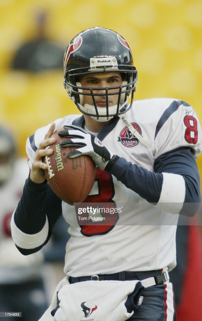 David Carr #8 of the Houston Texans warms up prior to a game against the Pittsburgh Steelers on December 8, 2002 at Heinz Field in Pittsburgh, Pennsylvania. The Texans beat the Steelers 24-6.