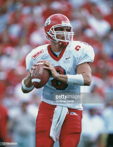 David Carr, Quarterback for the Fresno State Bulldogs prepares to throw the ball up field during the NCAA Big Ten college football game against the...
