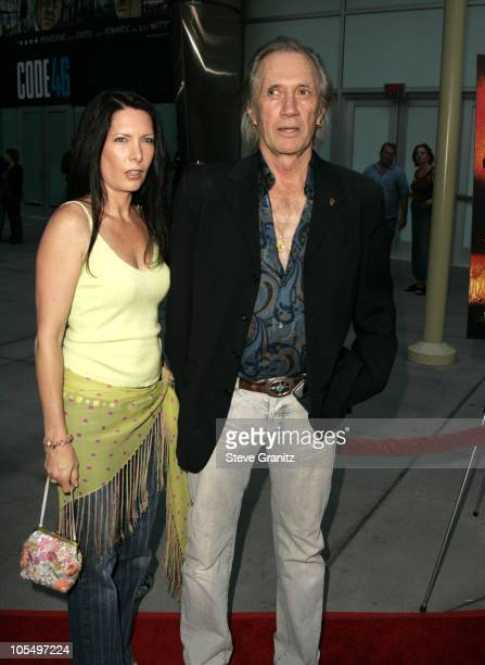 David Carradine and Annie Bierman during 'Hero' Los Angeles Premiere Arrivals at Arclight Theatre in Hollywood California United States