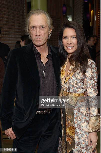 David Carradine and Annie Bierman during 'Kill Bill Volume 1' New York City Premiere After Party at Noche in New York City New York United States