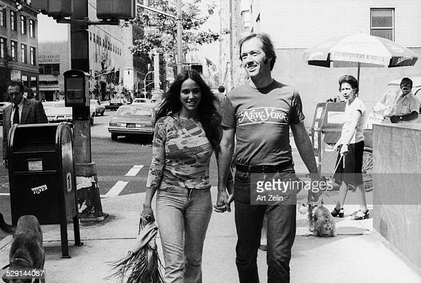 David Carradine and his wife near the Whitney Museum; circa 1970; New York.