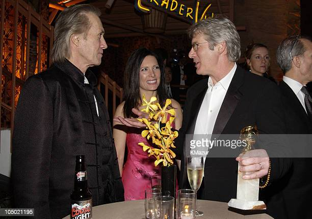 David Carradine Annie Bierman and Richard Gere during The 60th Annual Golden Globe Awards Miramax AfterParty Inside at Trader Vic's in Beverly Hills...