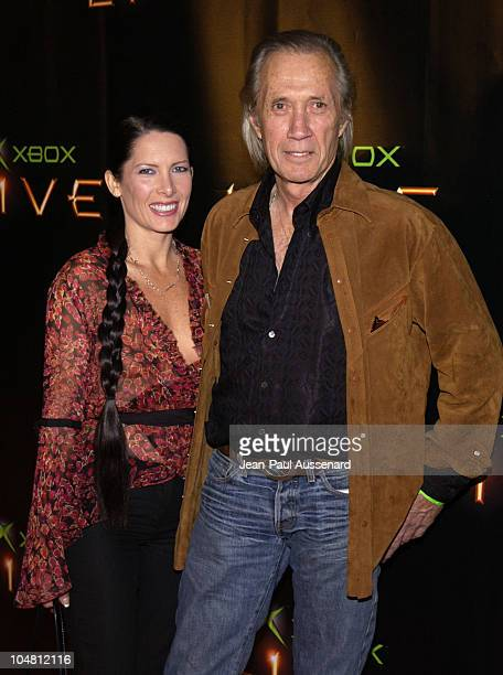 David Carradine Annie Bierman during Launch Party for Xbox Live Arrivals at Peek at The Sunset Room in Hollywood California United States