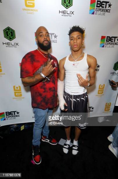 David Carter IpodKingCarter and NLE Choppa attend UNLCKD Gaming during the BET Experience Fan Fest at Los Angeles Convention Center on June 22 2019...
