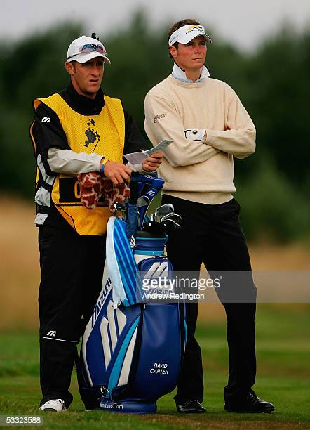 David Carter of England and his caddy wait on the 15th hole during the first round of The Johnnie Walker Championship at Gleneagles at The Gleneagles...