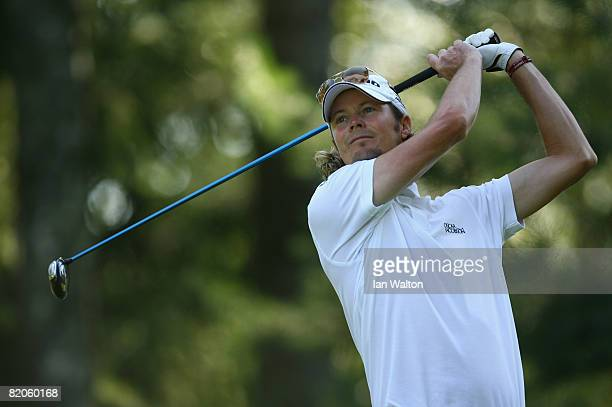 David Carter of England in action during the Second Round of the Inteco Russian Open Championship at the Moscow Country Club July 25, 2008 in Moscow,...