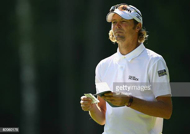 David Carter of England looks down the 2nd hole during the Second Round of the Inteco Russian Open Championship at the Moscow Country Club July 25,...