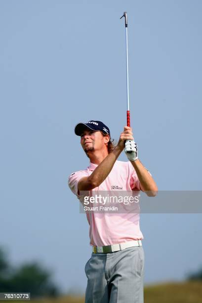 David Carter of England plays his approach shot on the 18th hole during the second round of The KLM Open at Kennemer Golf & Country Club on August...