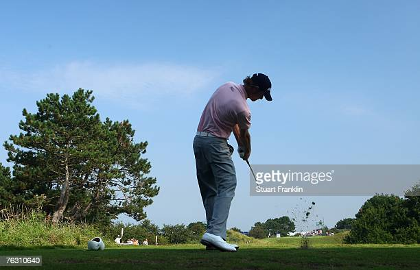 David Carter of England plays his tee shot on the 11th hole during the second round of The KLM Open at Kennemer Golf & Country Club on August 24,...