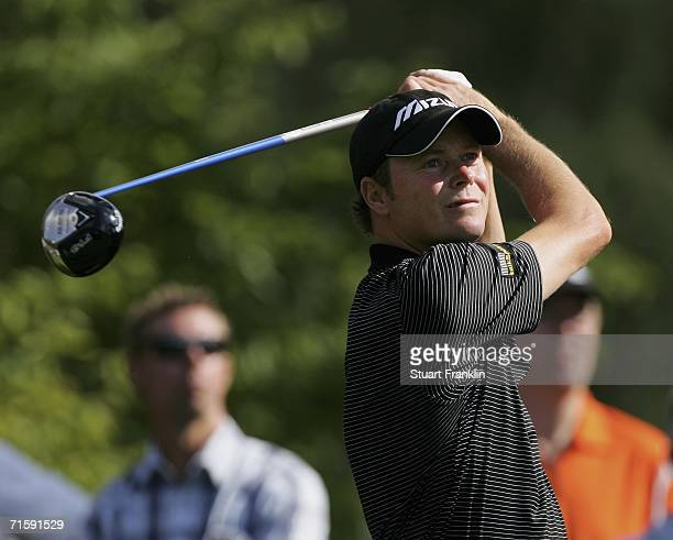 David Carter of England plays his tee shot on the 17th hole during the third round of The Entercard Scandinavian Masters 2006 at Barseback Golf and...