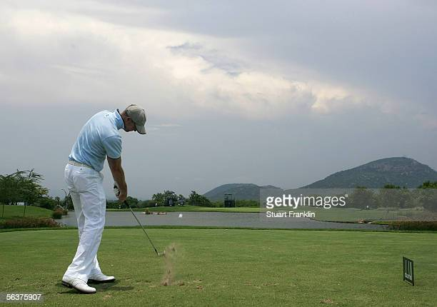 David Carter of England plays his tee shot on the fifth hole during the first round at The Dunhill Championships at The Leopard Creek Country Club on...