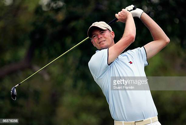 David Carter of England plays his tee shot on the sixth hole during the first round at The Dunhill Championships at The Leopard Creek Country Club on...