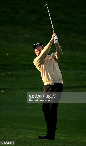 David Carter of England plays into the 8th green during Round Two of the Open de Espana 2007 at Centro Nacional de Golf on April 27, 2007 in Madrid,...