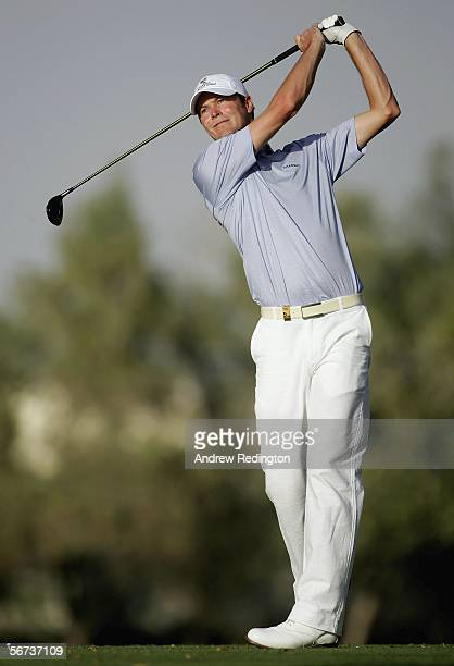 David Carter of England tees off on the fifth hole during the second round of the Dubai Desert Classic on February 3, 2006 on the Majilis Course at...