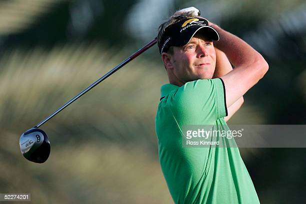 David Carter of England tees off on the par five 3rd hole during the second round of the the Dubai Desert Classic on the Majlis Course at the...