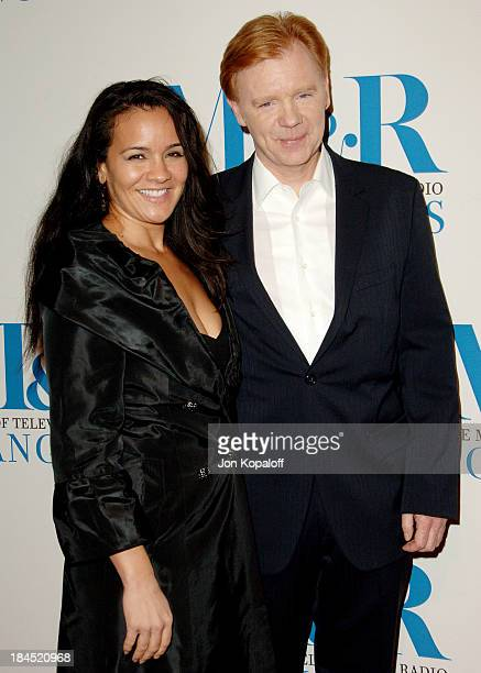 David Caruso and Liza Marquez during The Museum of Television Radio Honors Leslie Moonves and Jerry Bruckheimer Arrivals at Beverly Wilshire Hotel in...