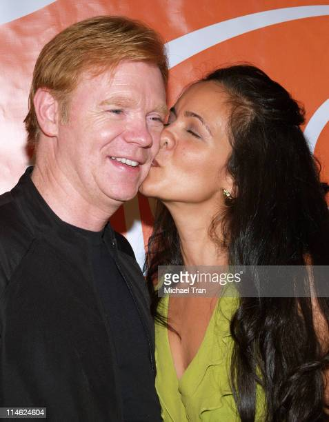 David Caruso and wife Liza Marquez during CSI Miami 100th Episode Party Arrivals at Malibu Beach in Malibu California United States