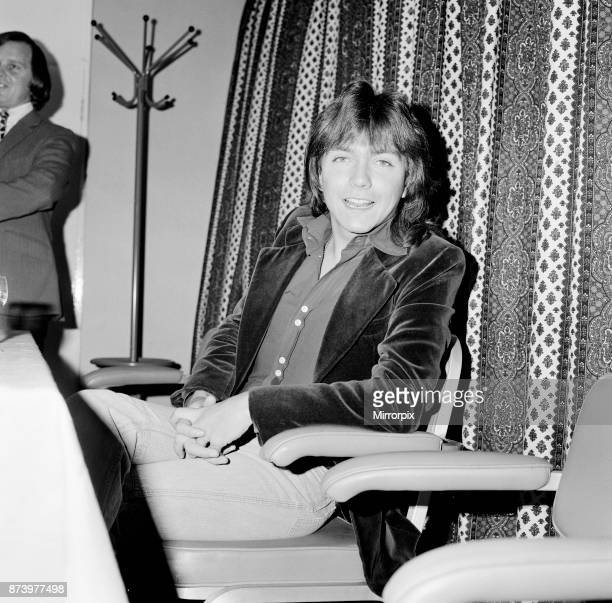 David Cassidy, singer, actor and musician, holds a press conference at The Skyways Hotel, London, Heathrow Airport, prior to his departure, 1973...
