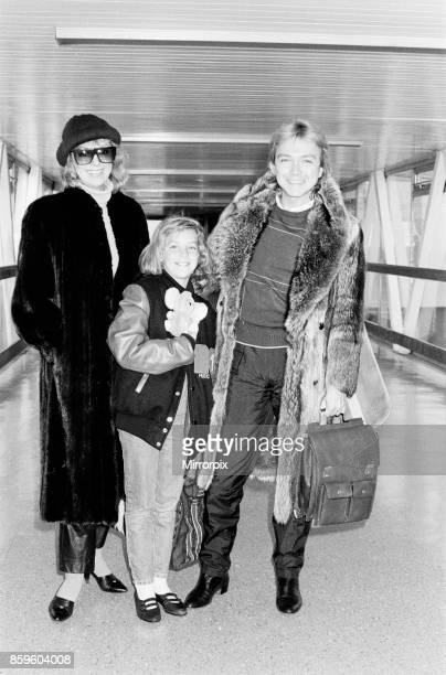 David Cassidy singer actor and musician in 1985 David his wile Mell and 9 year old daughter Caroline arrive at Heathrow Airport in London for a visit...