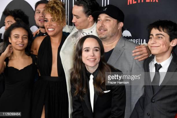David Castaneda Emmy RaverLampman Robert Sheehan Ellen Page Steve Blackman and Aidan Gallagher attend the premiere of Netflix's 'The Umbrella...