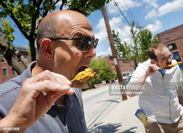 David Cavalero of Scarborough samples grilled dogfish skewers Saturday June 7 on Commercial Street The Gulf of Maine Research Institute partnered...