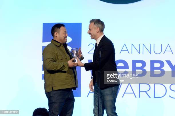 David Chang and Adam Rapaport onstage at The 22nd Annual Webby Awards at Cipriani Wall Street on May 14 2018 in New York City
