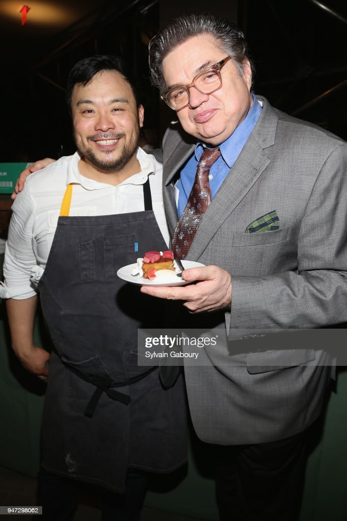 David Chang and Oliver Platt attend Edible Schoolyard NYC 2018 Spring Benefit at 180 Maiden Lane on April 16, 2018 in New York City.