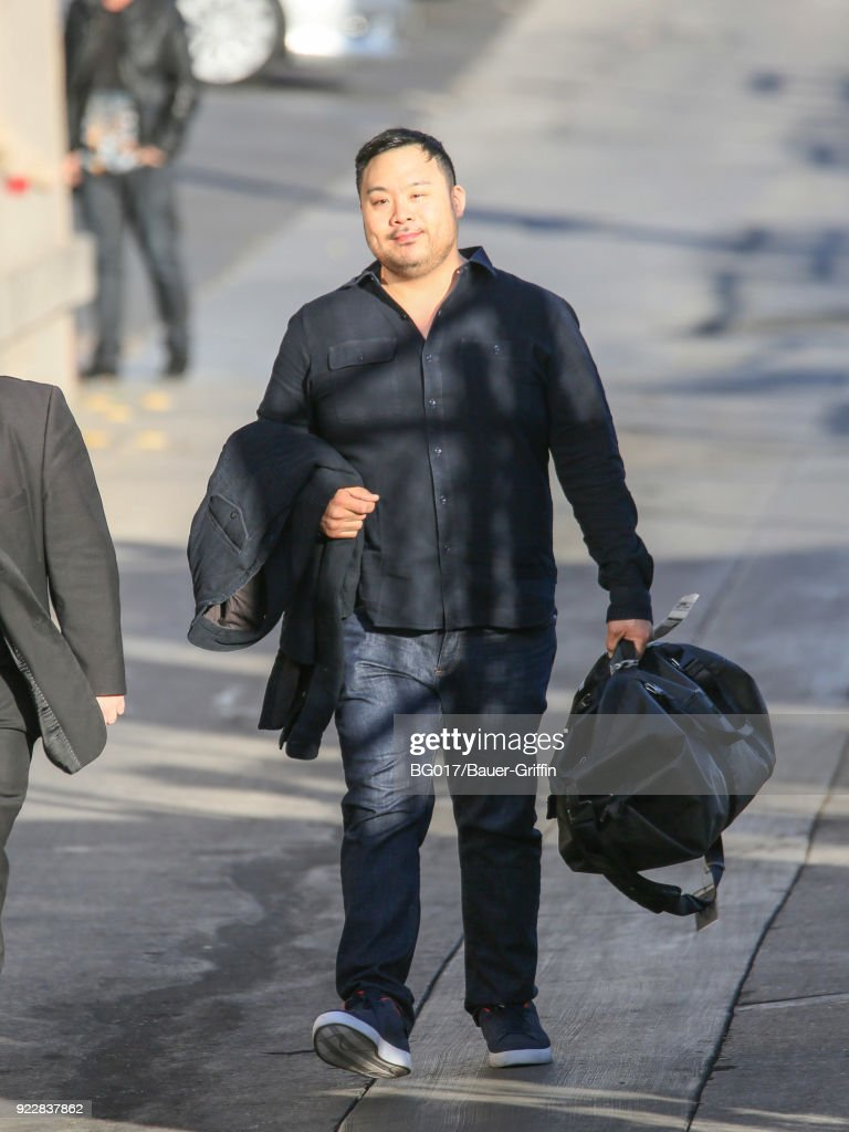 David Chang is seen arriving at 'Jimmy Kimmel Live' on February 21, 2018 in Los Angeles, California.
