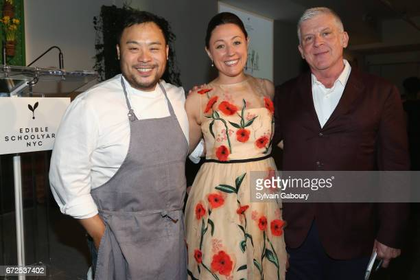 David Chang Kate Brashares and John Lyons attend Edible Schoolyard NYC 2017 Spring Benefit at Metropolitan West on April 24 2017 in New York City