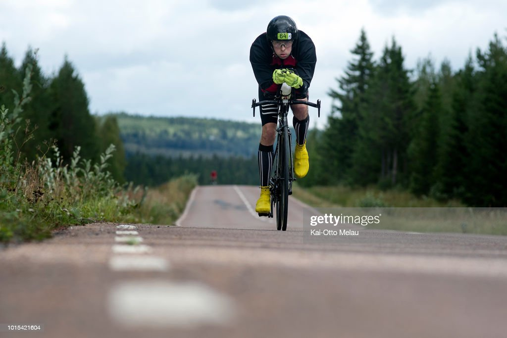 David Chapman at the bikeleg at Swedeman Extreme Triathlon on August 11, 2018 in Are, Sweden. Swedeman is part of the Xtri World Tour.